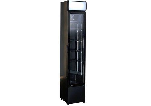 HorecaTraders Black narrow fridge with glass door | 105 litres