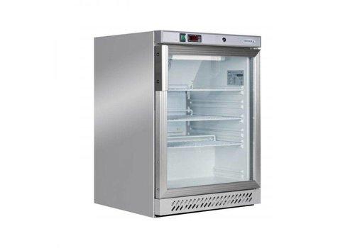 HorecaTraders Glass door refrigerator | Stainless steel | Substructure | 130 liters