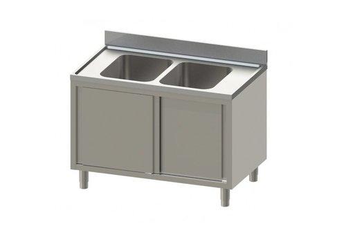 HorecaTraders Edelstahl-Spüle mit Unterschrank | Middle Sink | 200x70x90 cm
