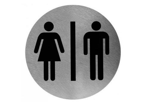 HorecaTraders Pictogram Rond | Man/Vrouw | RVS