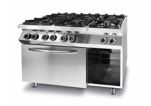 Hendi Gaskocher-Küchenzeile 6 Brenner mit elektrischem Heißluftofen gn 1/1
