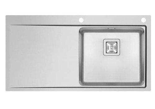 HorecaTraders RVS Spoeltafelblad | Spoelbak Rechts | 100 x 52 cm