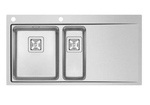 HorecaTraders Edelstahlspültischplatte sinkt nach links | 2x Spüle 340X400X200mm / 170X400X140mm