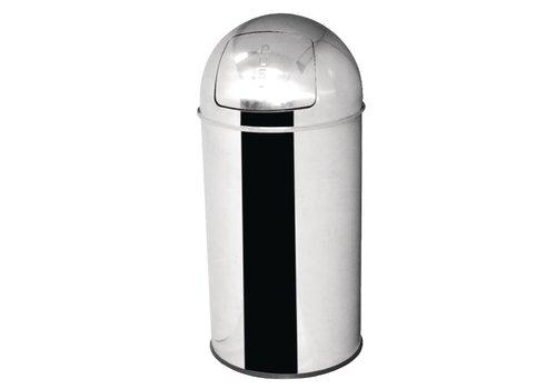 HorecaTraders Abfalleimer aus Edelstahl, selbstschließender Deckel 40 Liter