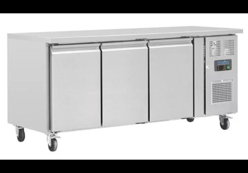 Polar Edelstahl Werkbank mit Rädern | 3 Türen | 86 x 179,5 x 70 cm | 417 Liter