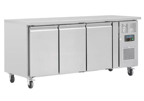 Polar Stainless steel workbench with wheels | 3 doors | 86 x 179.5 x 70 cm | 417 liters