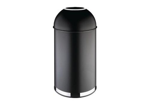 Bolero Schwarzer Abfallbehälter aus Stahl mit offenem Deckel