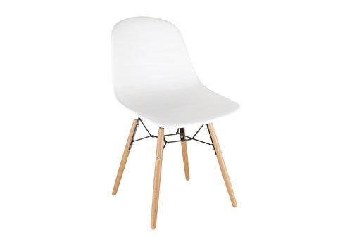 Bolero Kunststoffstühle Weiß mit Holzbeinen