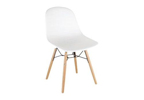 Bolero Plastic chairs with wooden legs White | (2 pieces)