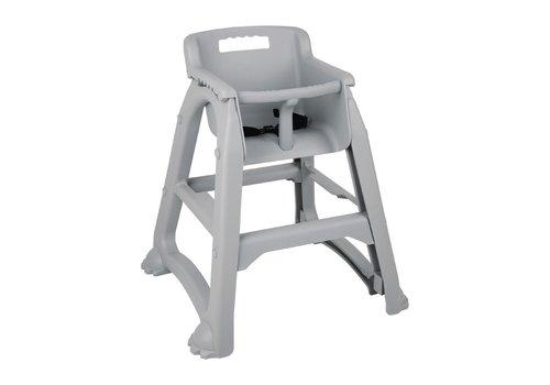 Bolero Stapelbarer Hochstuhl aus grauem Kunststoff