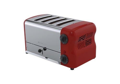Rowlett Edelstahl-Toaster | 4 Steckplätze | Rot
