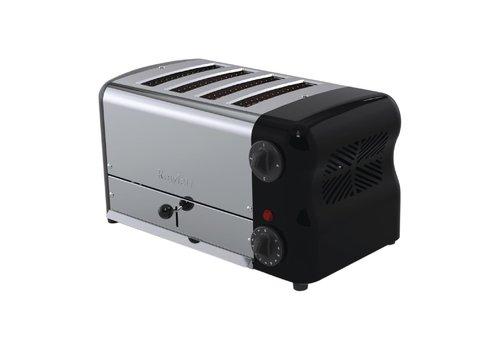 Rowlett Edelstahl-Toaster | 4 Schlitze | Schwarz