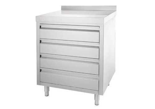 Vogue Stainless steel workbench with 4 drawers