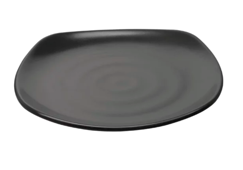 Olympia Square Plate with Round Corners Black (6 pieces)