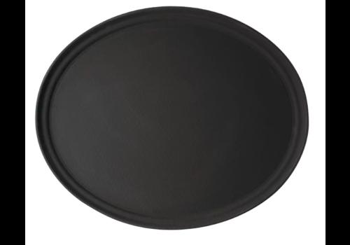 Cambro Oval Non-Slip Tray Black | 68.5 x 56 cm