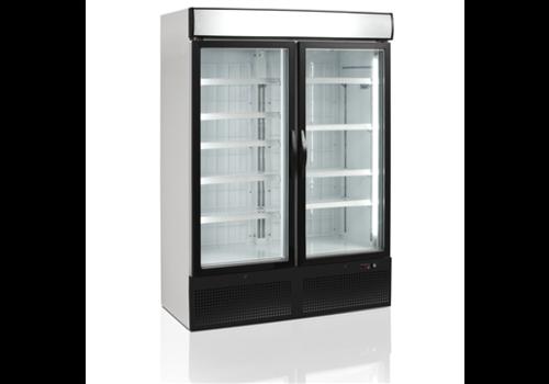 Tefcold Stalen Displayvriestkast met twee glazen deuren Zwart | 984 ltr