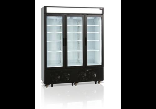 Tefcold Stalen Displayvrieskast | Drie glazen deuren | 1252 L