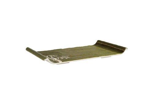 HorecaTraders Melamine Serving Platter | 2 Formats Green Bamboo Line