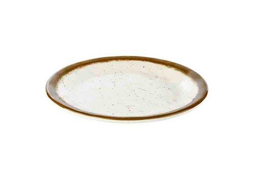 HorecaTraders Stone Art Line - Melamine Plate | White / Brown (3 sizes)