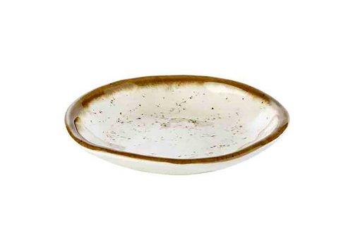HorecaTraders Stone Art Line - Melamine Bowl | White / Brown (2 sizes)