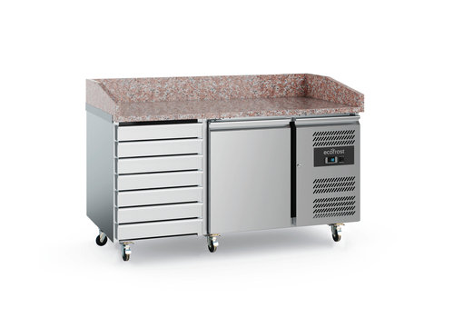 Ecofrost Pizza workbench Stainless steel | 1 door and 7 drawers