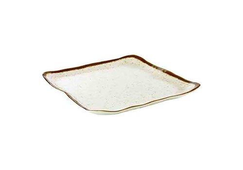 HorecaTraders Witte Melamine Bord | Stone Art Line | 33,0 x 32,5 cm