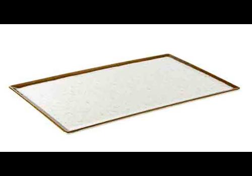 HorecaTraders Servierplatte aus weißem Melamin | Stone Art Line 4 Formate