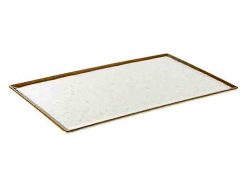 HorecaTraders Witte Melamine Serveerplateau | Stone Art Line  | 4 Formaten