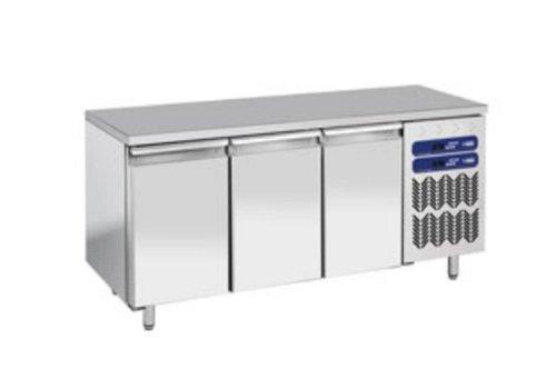 Diamond RVS Werkbank met Koel/vries Combinatie | 1809x700x(h)880/900mm | 3 Deurs
