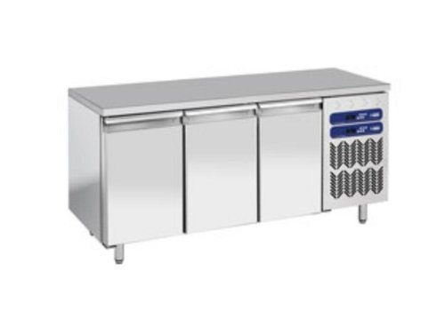 Diamond Stainless Steel Workbench with Fridge / Freezer Combination | 1809x700x (h) 880 / 900mm | 3 doors