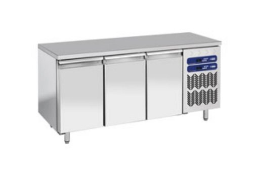 Diamond Stainless Steel Workbench with Fridge / Freezer Combination | 3 Doors | 1809x700x (h) 880 / 900mm