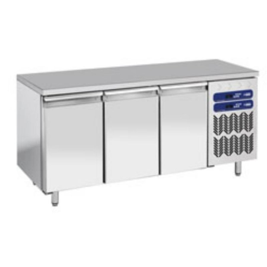 Stainless Steel Workbench with Fridge / Freezer Combination | 3 Doors | 1809x700x (h) 880 / 900mm