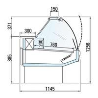 Kühltheke mit Beleuchtung Arbeitsplatte aus Marmor DALLAS / 3 VC 2500 | Arneg | 258 x 114,5 x (H) 125,6 cm