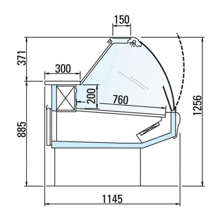 Koeltoonbank met Verlichting   Marmeren Werkblad   DALLAS/3 VC 2500   Arneg   258x114,5x(H)125,6cm