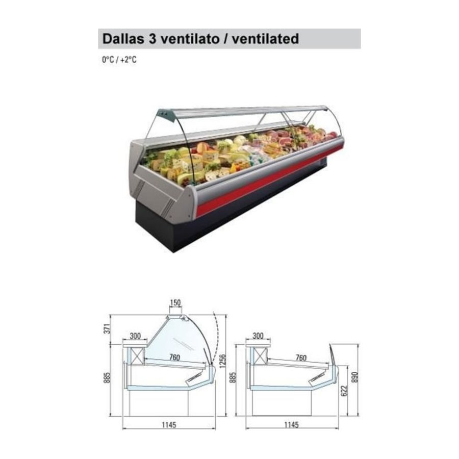 Cooling counter with lighting Marble Worktop DALLAS / 3 VC 2500 | Arneg | 258x114.5x (H) 125.6 cm