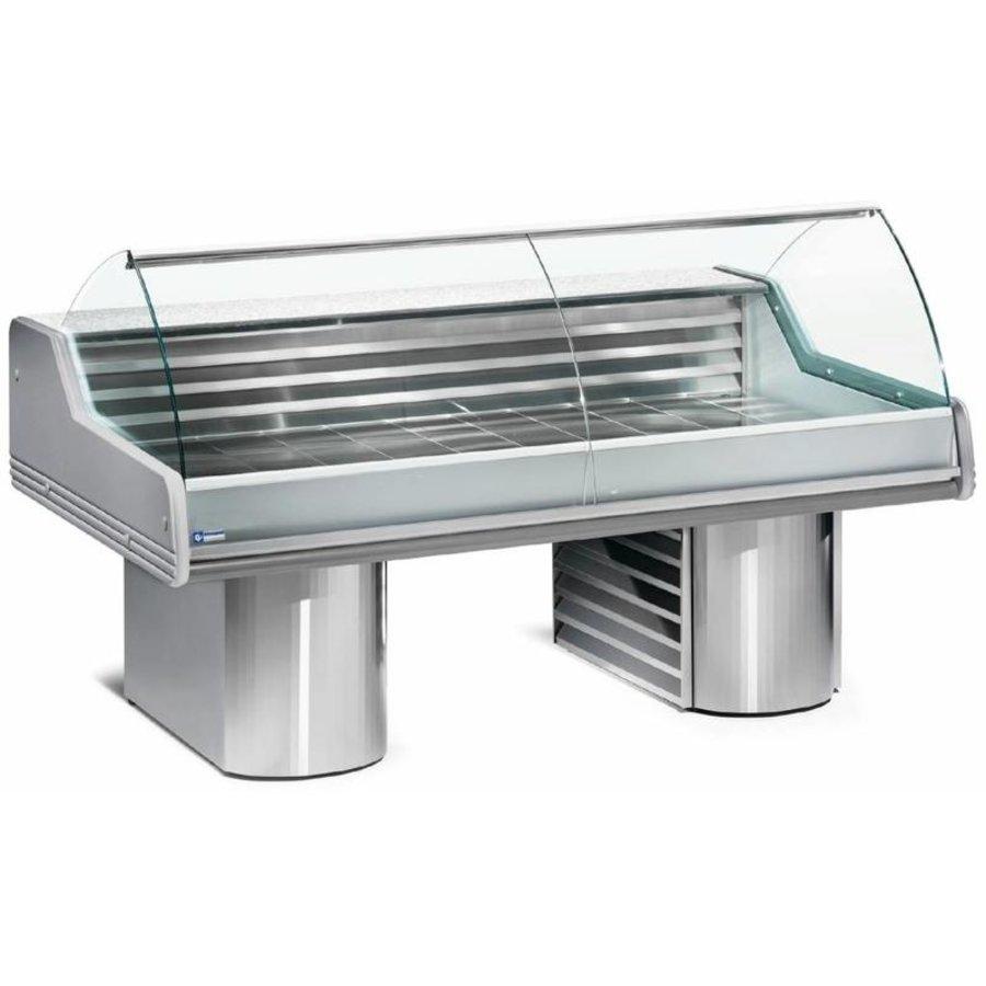 Vitrine Toonbank Vis | Werkblad Graniet | Gekoeld 0 / +2 ºC | 2500x1195x(h)1175mm