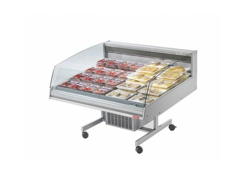 Oscartielle Refrigerated counter | BANCARELLA SELF 125 | Self Service | 4 castors, 2 of which are braked 128.8x122x (H) 103 cm