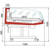 Koeltoonbank | BANCARELLA SELF 125 | Self Service | 4 Zwenkwielen waarvan 2 Geremd | 128,8x122x(H)103cm