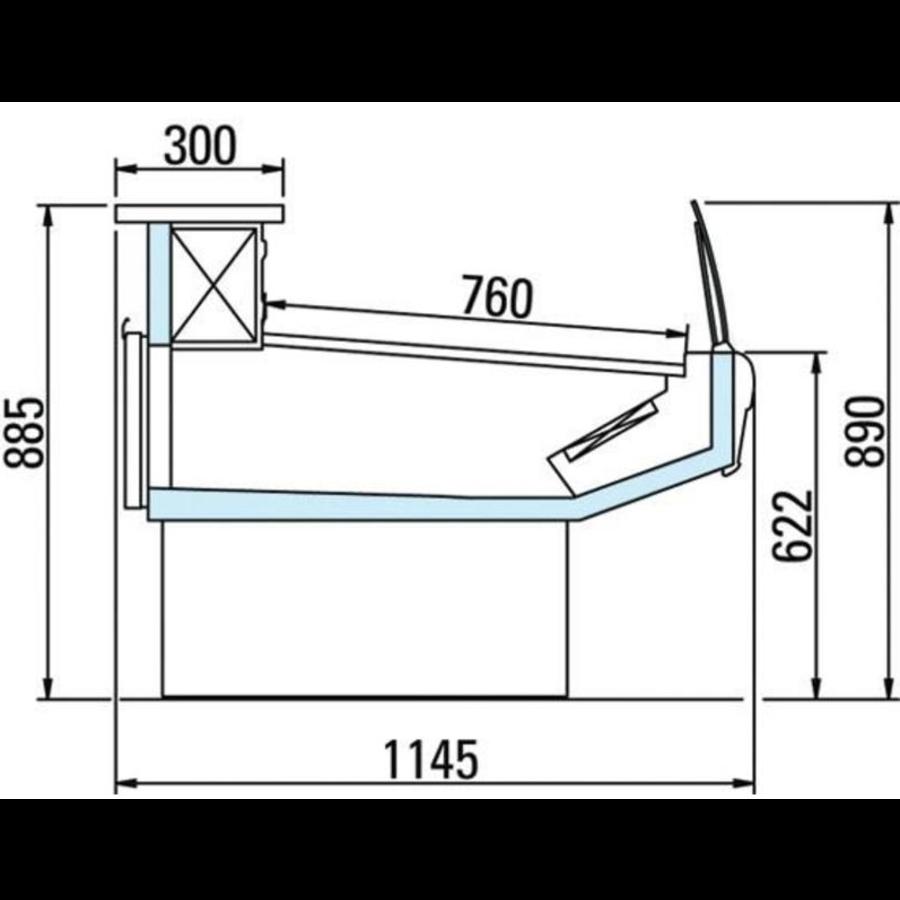 Koeltoonbank Selfservice | Marmeren Werkblad | DALLAS/3 VC 1250 | 133x1145x(H)89cm