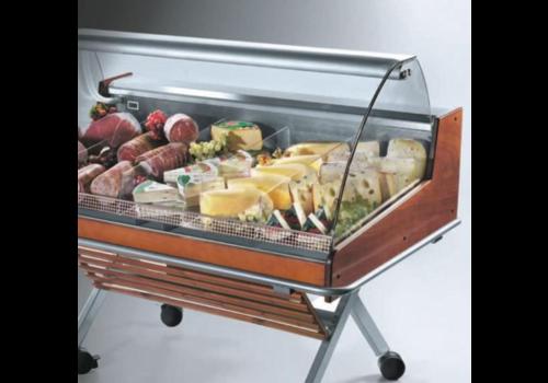 Oscartielle Kühltheke Mit Gebogener Glasstruktur Selbstbedienung | Steckerfertig | 126,2 × 84 × (H) 110 cm
