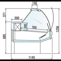 Koeltoonbank met Verlichting | Marmeren Werkblad | DALLAS/3 VC 1250 | 133x114,5x(H)125,6cm