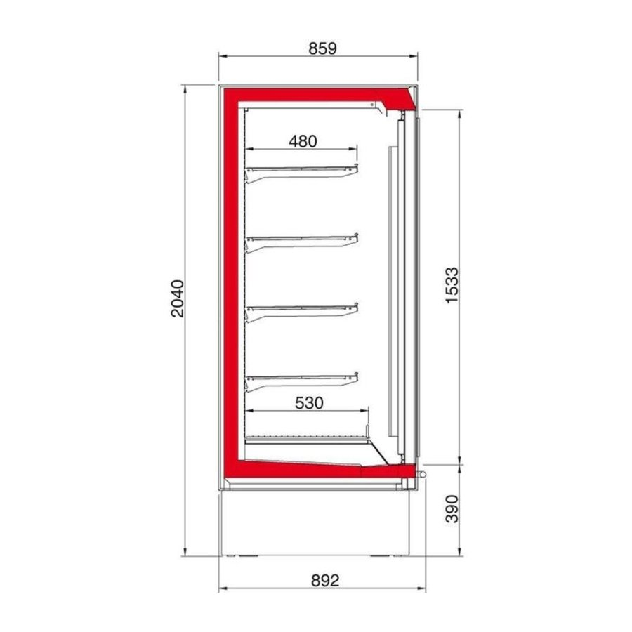 Wall freezer Hinged glass doors | Ready to plug (2 formats)