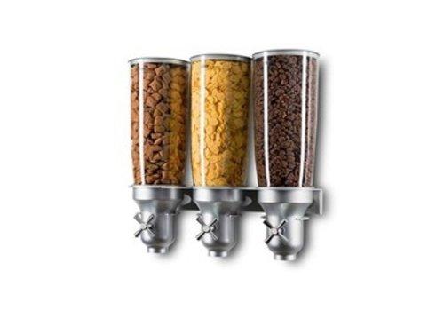 HorecaTraders Müslispender 3 x 5 Liter | Wandmontage