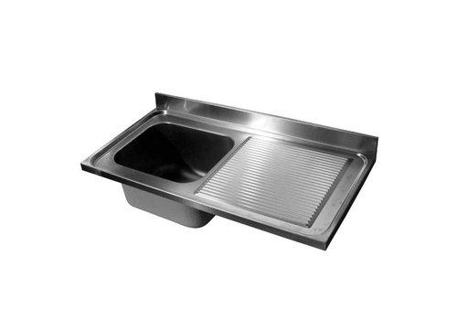 HorecaTraders Spültischplatte Edelstahl | Waschbecken links | 120 x 60 x (h) 4 cm
