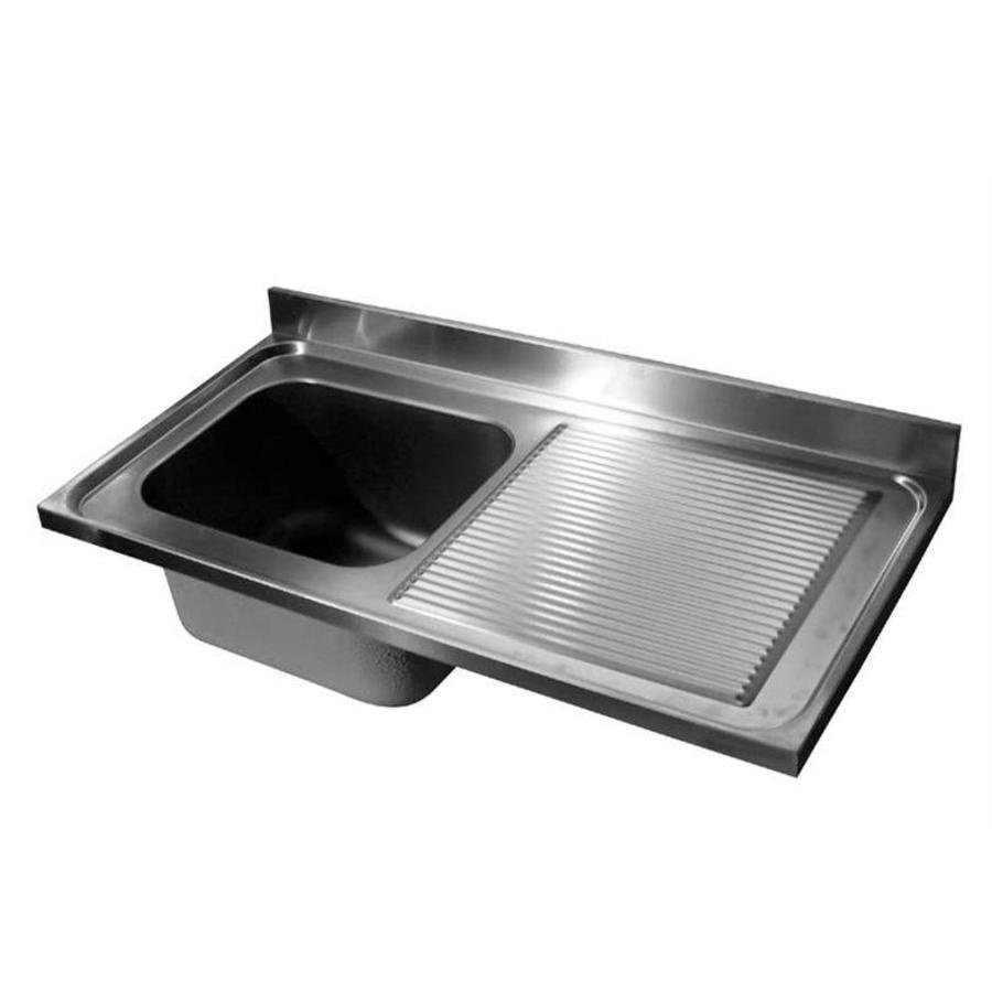Sink table top stainless steel | Sink Left | 120 x 60 x (h) 4 cm