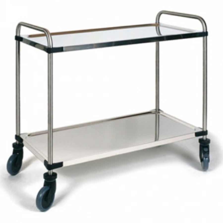 Stainless steel serving trolley 2 trays 870x570x950 mm (WxDxH)