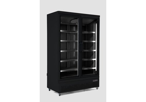 Combisteel Refrigerator 2 Glass doors Stainless steel 1000 L | Black inside + Outside