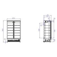Koelkast 2 Glasdeuren | RVS | 1000 L | Zwart binnen + Buiten