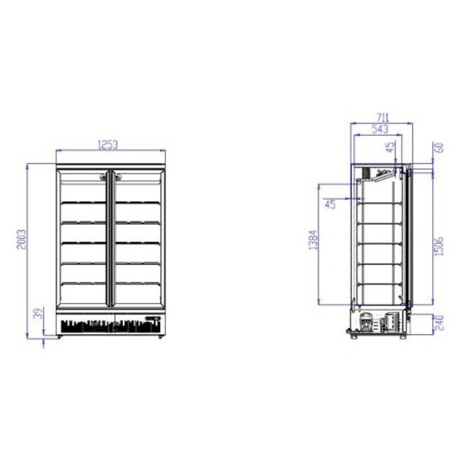Refrigerator 2 Glass doors Stainless steel 1000 L | Black inside + Outside