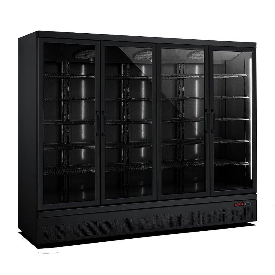 Kühlschrank 4 Glastüren | 2025 Liter | Rostfreier Stahl Innen + außen schwarz